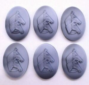 Vintage Grey Matte Two Horse Oval Cameo Cabochon 17 mm