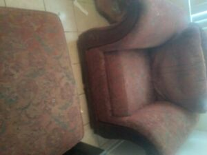 burgundy with padding and patern recliner