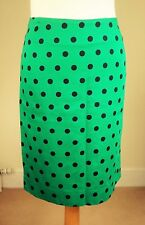 Katharine Hamnett UK 12/10 Pure Cotton Vintage Pencil Skirt Emerald Green Spotty