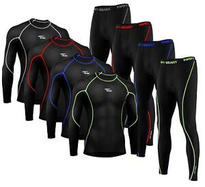 Mens Boys Body Armour Compression Base layer Thermal Shirt Top Leggings Skin Set