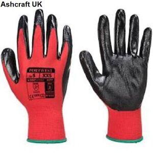X10 pairs Portwest Red/Black PU Palm Work Gloves Mechanics,  : Size 10 X Large
