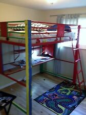 Great  metal bed frame with desk below for young child