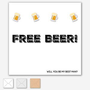 BEST MAN CARD Will You Be My Bestman Usher Stag Wedding Free Beer OPTIONS