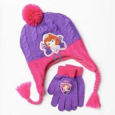 NWT-Girls Disney Princess Sofia Purple & Pink Crochet Winter Hat and Gloves Set