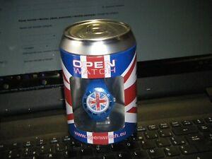 MONTRE OPEN WATCH dans sa boite non ouverte drapeau anglais bracelet bleu