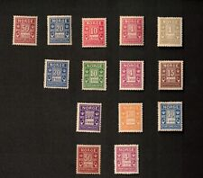 Norway 1889-1923 Sc# J1-J8, J5a, Mixed Lot of 14 Stamps