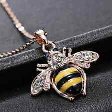 Women Girl Rhinestone Yellow Bee Pendant Animal Bumblebee Crystal Necklace Chain
