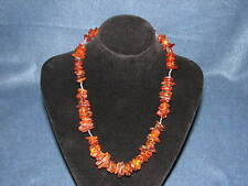"Vintage Sterling Honey Amber Cognac Natural Graduated Beaded Necklace 20"" 48g"