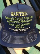 NOS Vtg Wanted Woman send Picture Boat & Motor Novelty Trucker Mesh Snapback Hat
