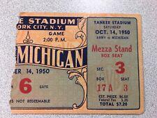 Michigan vs. Army 1950 Football Ticket Stub- Yankee Stadium ~ RARE