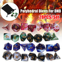 4 Set 28Pcs Polyhedral Dice DND RPG Game Poker Card Dungeons Dragons Party &Bags