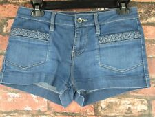 BULLHEAD Junior Ladies Sz 5 Denim Stretch Short Braided Pockets Mini Jean Shorts