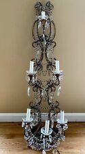 Antique Italian Crystal Macaroni Beaded Wall Sconce Chandelier
