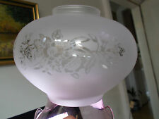 VINTAGE /ANTIQUE  FROSTED TO CLEAR FLOWER PATT FLUTED EDGE PINK RIM