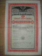 K.K Priviliegirte Allg. Österreichische Boden Credit Anstalt  1000Kr.  Wien 1912