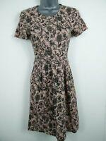 WOMENS HOBBS PINK & BLACK FLORAL SHORT SLEEVE CASUAL JERSEY SUMMER DRESS UK 6