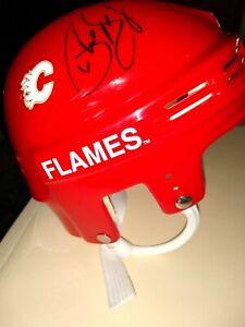 Jarome Iginla + Phil Housley Autograph Calgary Flames Mini Helmet