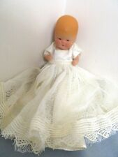 "VINTAGE 1945 KERR E. HINZ ALL BISQUE 4"" BABY DOLL W/ WHITE CHRISTENING DRESS EX."