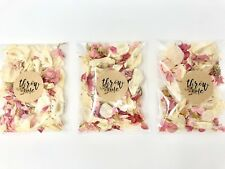 20 Real Dried Delphinium Petal Wedding Confetti Bags Pink Ivory Biodegradable