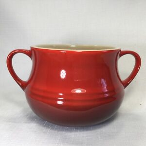 Le Creuset Red Ombré Double Handles Sugar Pot Bowl Dish Packet Holder