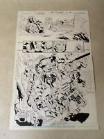 DEATHSTROKE #3 original comic art STUNNING HALF SPLASH, CUTS HEAD OFF, THIBERT