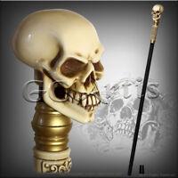 Skull Walking Stick Goth Style Cane Top Knob Handle black Wooden shaft GC-Artis