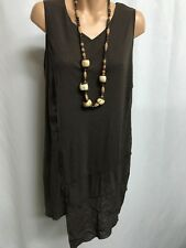 TS TAKING SHAPE SIZE S LOVELY BROWN MESH ASYMMETRICAL TUNIC TOP