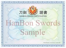 HanBon Sword Certification ( only for buyer who bought sword from us.)