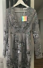 Missguided à Manches Longues Sequin Robe Moulante Gris Taille 8
