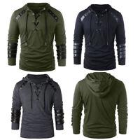 US Men's Hoodie Personality Leather Bandage Long Sleeve Slim Lace Top Sweatshirt