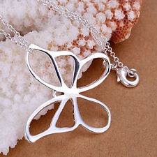 Big 925 Sterling Silver Plated Butterfly Pendant and Necklace.18 inch/46cm Chain