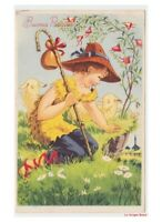 Best Wishes Happy Easter Card Vintage Child Shepherd Bell Sheep