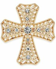 Charter Club Holiday Lane Christmas Gold-tone Crystal Cross Brooch Pin