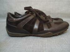 GEOX UK 6 BROWN LEATHER & SUEDE TRAINERS / LEISURE SHOES