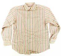 Peter Millar Multi-Color Striped Shirt Sz. Large 100% Spread collar Dress Shirt