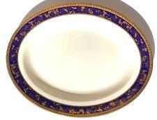 Zepter International Porcelain Oval Platter Cobalt Blue Gold Animals Zoo Pattern