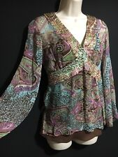 PURE SILK TOP BLOUSE ECI NEW YORK ORIENTAL PAISLEY HIPPY CHIC EVENING Sz 8