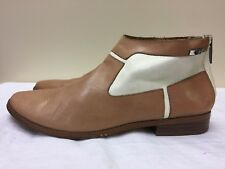CALVIN KLEIN women Irena  brown beige leather ankle boots size 8M