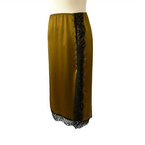 Victorias Secret Half Slip Size XL Brown Bronze with Black Lace and Side Buttons