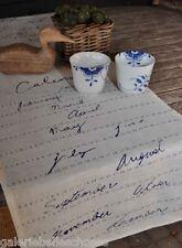 Artefina Tischläufer Decke Kalender Monat Landhaus Country Shabby Tisch creme