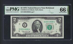 United State -Federal Reserve Note 2 Dollars 1976 F1935-E (EA Block) Grade 66