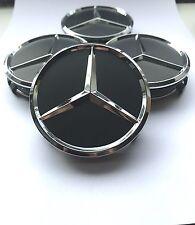 ☆ 4X MERCEDES Emblem 75mm Schwarz MATT NABENDECKEL FELGENDECKEL RADNABENDE Logo