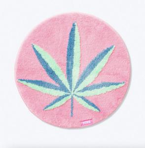 """VICTORIA'S SECRET PINK COCO CHILL MARIJUANA GREEN LEAVES BATH MAT 25"""" L x 25"""" W"""