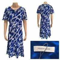 WINDSMOOR Shift Occasion Dress Abstract Blue White Mix Floaty Dress Size 18 UK
