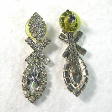 "Long pierced earrings with clear rhinestones 1.9"" cja"