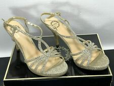 "8.5 M Womens Platinum 3.5"" Stiletto Sling-back Sandals Sparkle Christmas Shoes"