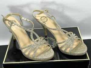 """Womens Platinum 3.5"""" Stiletto Sling-back Sandals Sparkle Party Shoes NIB 8.5 M"""