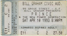 PRINCE 1993 Concert Ticket Stub Bill Graham Civic Auditorium