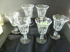 Vintage 6-Clear Glass Sundae Dish Cup Ribbed-Stem Ruffled/Scalloped Edge--XC