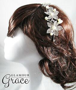 Jasmine wedding bridal headband hair accessory crystal pearl head band headpiece